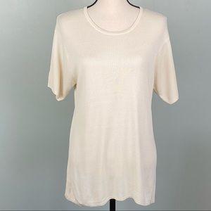 EUC-ORVIS 100% silk short sleeve sweater.